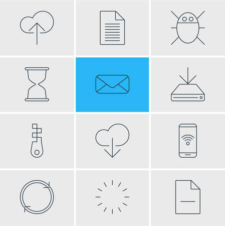 illustration of 12 network icons line style. Editable set of hdd downloading, phone, zip and other icon elements.