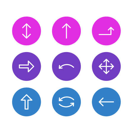 illustration of 9 arrows icons line style. Editable set of upwards, up-down, repeat and other icon elements.