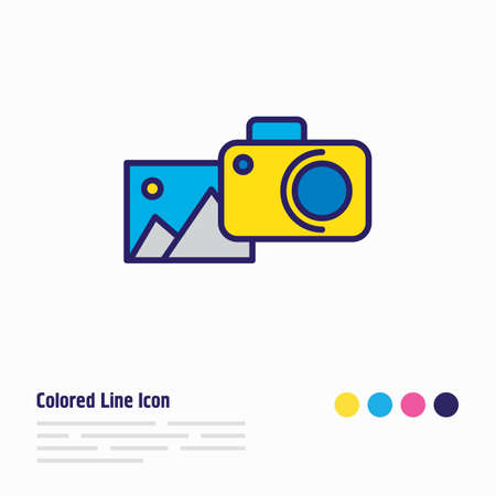 illustration of photography icon colored line. Beautiful entertainment element also can be used as camera icon element.