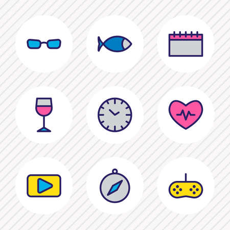 Vector illustration of 9 entertainment icons colored line. Editable set of glasses, heartbeat, calendar and other icon elements. Ilustração