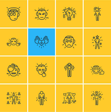 Vector illustration of 16 emoji icons line style. Editable set of regretful, think outside box, depression and other icon elements. Vettoriali