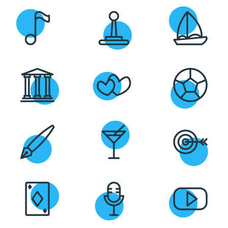 Vector illustration of 12 entertainment icons line style. Editable set of heart, microphone, target and other icon elements.