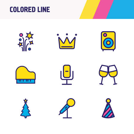 illustration of 9 celebrate icons colored line. Editable set of recording mic, christmas tree, clown cap and other icon elements.
