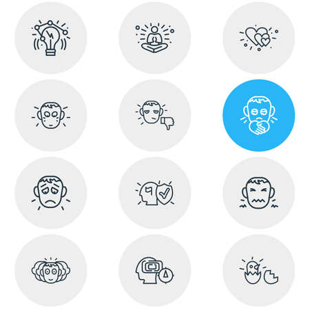 Vector illustration of 12 emotions icons line style. Editable set of unsatisfied, love, offence and other icon elements. 일러스트
