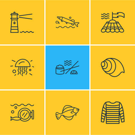 Vector illustration of 9 maritime icons line style. Editable set of jelly fish, flounder fish, stripped vest and other icon elements.