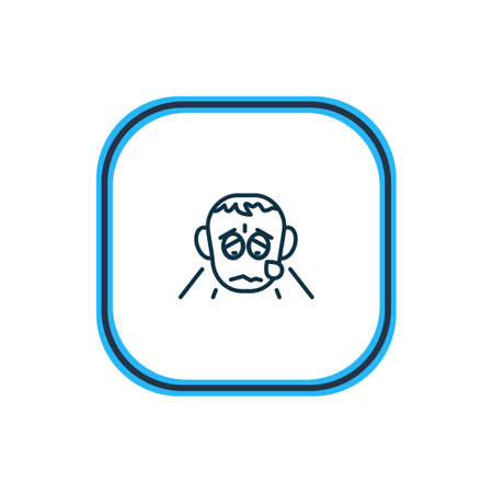 Vector illustration of grieving icon line. Beautiful emoji element also can be used as crying icon element.