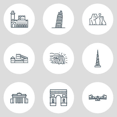 Vector illustration of 9 history icons line style. Editable set of arc de triomphe, the grand canyon, niagara falls icon elements. Illustration