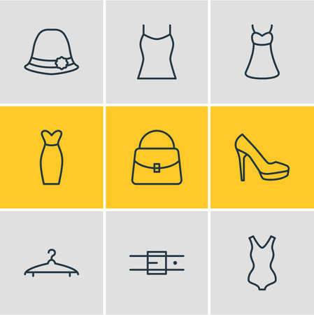 Vector illustration of 9 clothes icons line style. Editable set of sarafan, evening dress, tank top and other icon elements. Illustration