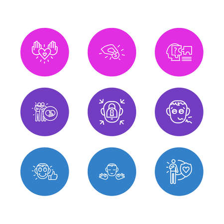 Vector illustration of 9 emoji icons line style. Editable set of calm person, problem solving, contribution and other icon elements. Illusztráció