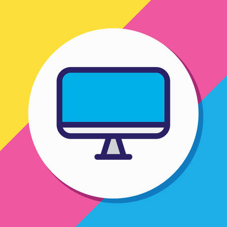 Vector illustration of monitor icon colored line. Beautiful music element also can be used as screen icon element. 版權商用圖片 - 123789530