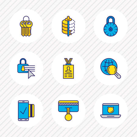 Vector illustration of 9 security icons colored line. Editable set of mobile transaction, personal information, strong password and other icon elements.
