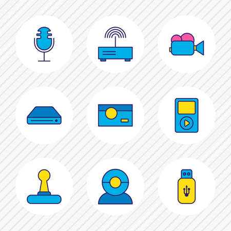illustration of 9 gadget icons colored line. Editable set of router, video camera, microphone and other icon elements.