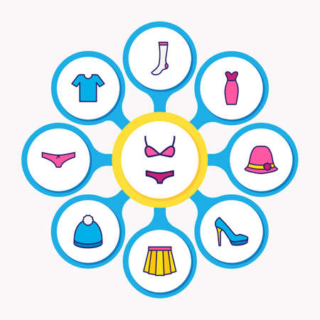 illustration of 9 dress icons colored line. Editable set of women shoe, women hat, t-shirt and other icon elements.