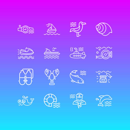 Vector illustration of 16 marine icons line style. Editable set of lobster, cetacean, underwear diving watch and other icon elements.