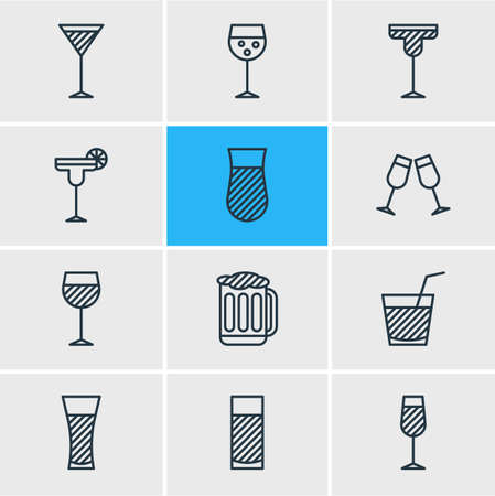 Vector illustration of 12 beverage icons line style. Editable set of wineglass, martini, soda and other icon elements.