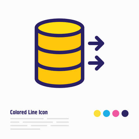 Vector illustration of data transfer icon colored line. Beautiful internet element also can be used as server icon element.