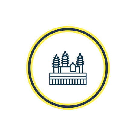 Vector illustration of angkor wat icon line. Beautiful culture element also can be used as heritage icon element. Illustration