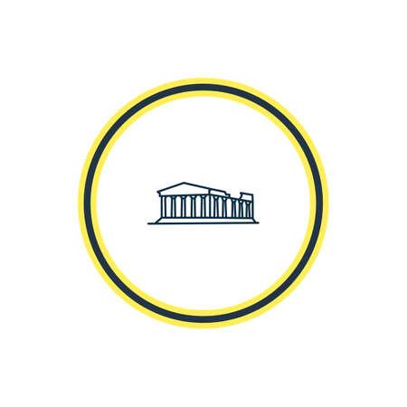 Vektor-Illustration der Akropolis-Symbollinie. Schönes Geschichtselement kann auch als Athen-Symbolelement verwendet werden.