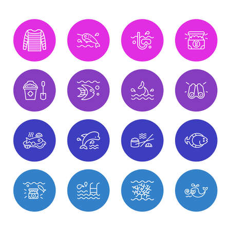 Vector illustration of 16 marine icons line style. Editable set of wealth, cetacean, stripped vest and other icon elements.