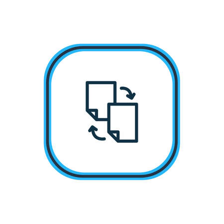 Vector illustration of file sharing icon line. Beautiful marketing element also can be used as document exchange icon element.