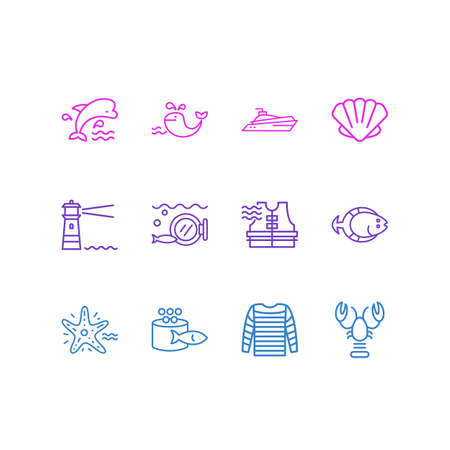 Vector illustration of 12 sea icons line style. Editable set of lighthouse, life vest, mammal and other icon elements. Ilustração