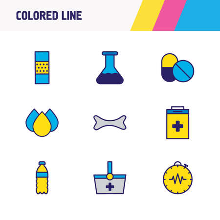Vector Illustration Of 9 Medical Icons Colored Line