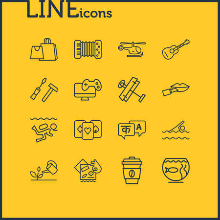 illustration of 16 hobby icons line style. Editable set of aeromodeling, copter, diving and other icon elements. Stockfoto