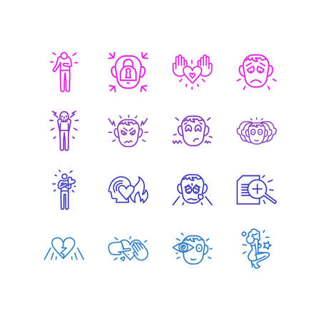 Vector illustration of 16 emoji icons line style. Editable set of vision, anger, emotionally blocked and other icon elements.