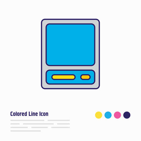 Vector illustration of vintage computer icon colored line. Beautiful notebook element also can be used as technology icon element.
