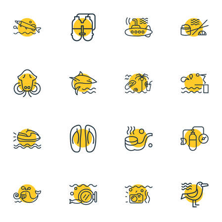Vector illustration of 16 sea icons line style. Editable set of seagull, submarine, oxygen balloons and other icon elements.