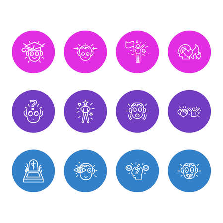 Vector illustration of 12 emoticon icons line style. Editable set of fear, concentrated, vision and other icon elements.