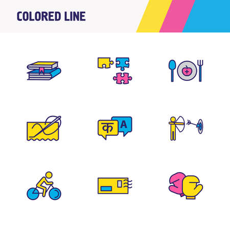 Vector illustration of 9 hobby icons colored line. Editable set of archery, stitching, puzzle and other icon elements. 矢量图像