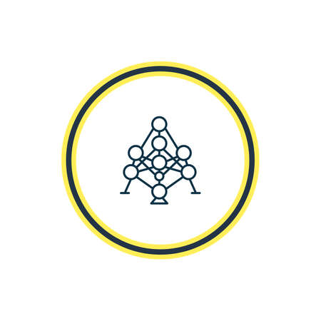 Vector illustration of atomium icon line. Beautiful history element also can be used as connection icon element. Illustration