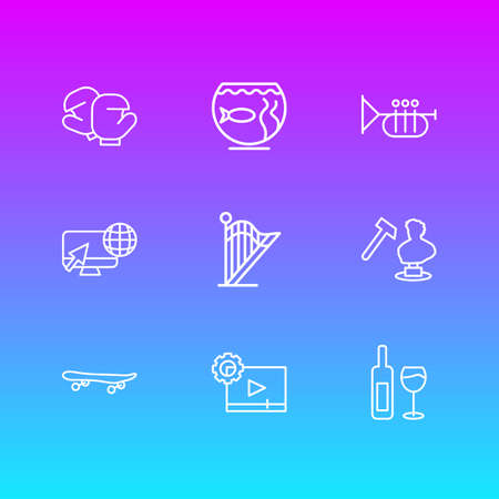 Vector illustration of 9 lifestyle icons line style. Editable set of video maker, aquarium, skateboard and other icon elements. Vector Illustratie