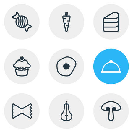 Vector illustration of 9 meal icons line style. Editable set of meal, mushroom, pastry and other icon elements. Vektoros illusztráció