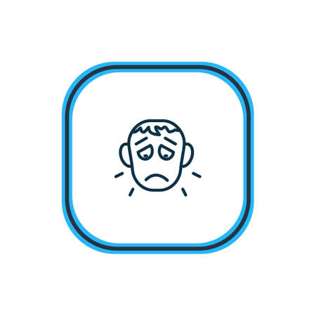 Vector illustration of offence icon line. Beautiful emoticon element also can be used as sorrow icon element.