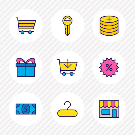 Vector illustration of 9 wholesale icons colored line. Editable set of key, add coins, add to cart and other icon elements.
