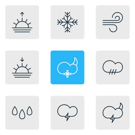 illustration of 9 atmosphere icons line style. Editable set of rain, drop, snowstorm and other icon elements.