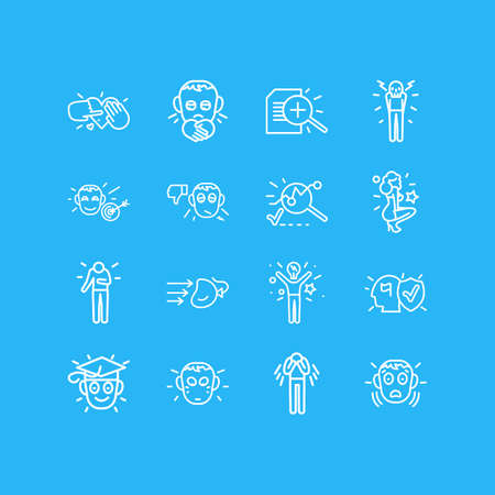 illustration of 16 emotions icons line style. Editable set of lonely, depression, learning and other icon elements.