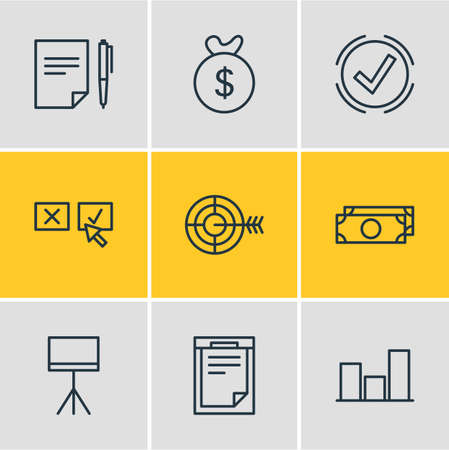 illustration of 9 business icons line style. Editable set of decision, target, bar and other icon elements.