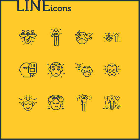 illustration of 12 emoji icons line style. Editable set of hungover, growth, behavior and other icon elements. Stock Photo