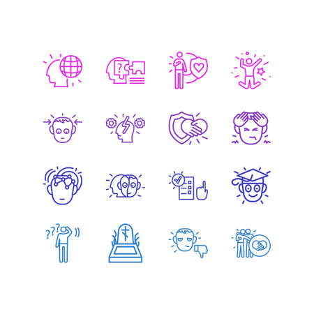 Vector illustration of 16 emotions icons line style. Editable set of concentrated, undecided, honesty and other icon elements.
