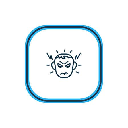 Illustration vectorielle de la ligne d'icône de colère. L'élément de belles émotions peut également être utilisé comme élément d'icône de haine.