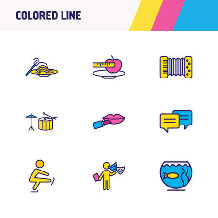 Vector illustration of 9 activities icons colored line. Editable set of accordion, skating, chatting and other icon elements. Stock Illustratie