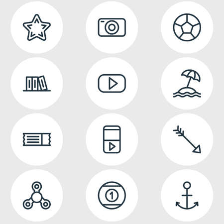 Vector illustration of 12 entertainment icons line style. Editable set of spinner, library, player and other icon elements. 免版税图像 - 121814262