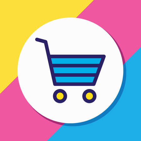 Vector illustration of buying cart icon colored line. Beautiful annex element also can be used as shopping icon element.
