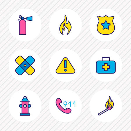 illustration of 9 necessity icons colored line. Editable set of match, 911, fire extinguisher and other icon elements. 版權商用圖片