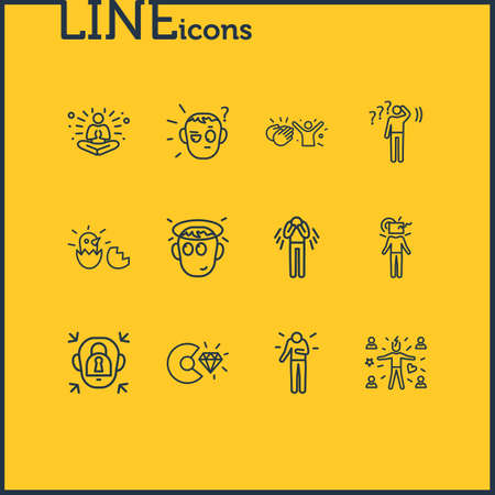 Vector illustration of 12 emoji icons line style. Editable set of think outside box, respect, innocent and other icon elements. Vectores