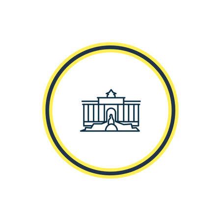 Illustrazione vettoriale della linea dell'icona della Fontana di Trevi. Il bellissimo elemento turistico può anche essere utilizzato come elemento icona del turismo. Vettoriali