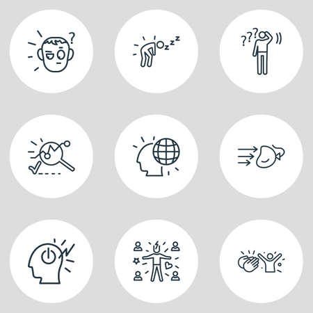 Vector illustration of 9 emotions icons line style. Editable set of analysis, impact, suspicious and other icon elements. Vettoriali